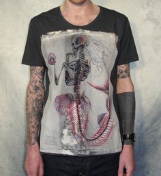 MENS T Shirt, Mermaid Skeleton, Charcoal Grey, S,M,L,XL. $36,00, via Etsy.