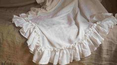 Vintage Style Linen Ruffle Bed Throw 2 by CustomLinensHandmade