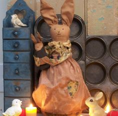 PRIMITIVE~MAKE-DO~RABBIT/BUNNY & BABY~Easter/Spring/Summer~VTG Homespun~Handmade