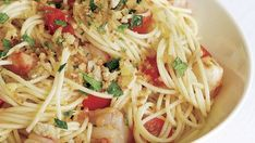 Spaghetti with Spicy Shrimp, Cherry Tomatoes & Herbed Breadcrumbs - Recipe - FineCooking Shrimp Recipes, Pasta Recipes, Cooking Recipes, Healthy Recipes, Yummy Recipes, Dinner Recipes, Fried Shrimp, Spicy Shrimp, Lemon Garlic Shrimp