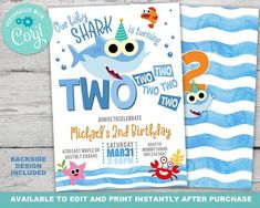 Baby Shark Two Two Two Birthday, Baby Shark Birthday Invitation, Baby Shark Invitation, Instantly Editable with Corjl