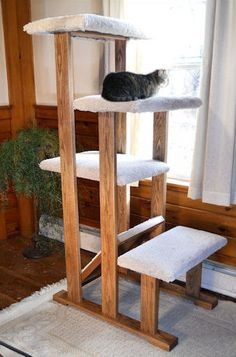 Quad level hardwood cat tree