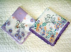 His and Hers  Decorative Handkerchief  Hand by tidycloth on Etsy, $24.75