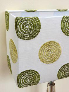 Handmade rectangular lampshade by www.jojonescreative.com using Prestigious Textiles 'Floret' fabric in avocado.