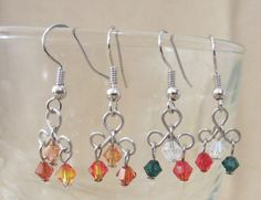 Triquatra & Crystals Dangle Earrings Handmade by Pizzelwaddels