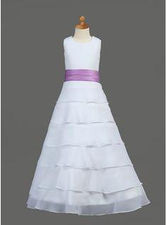 A-Line/Princess Scoop Neck Floor-Length Chiffon  Satin Flower Girl Dresses With Sash (010002146)