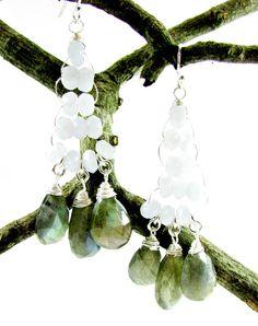 Long Boho Earrings, Labradorite & Blue Lace Agate Earrings, Chandeliers Earrings, High Fashion Jewelry, Gemstone Earrings, Top Jewelry Trend by TerriFayeJewelry on Etsy