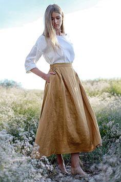 FLORENCE linen Skirt Maxi Linen Skirt Mustard Linen Skirt Linen Skirt with Pockets Linen Maxi Skirt Ruffled back Skirt Linen Skirt, Linen Dresses, Denim Skirt, Women's Fashion Dresses, Skirt Fashion, Jeans Fashion, Fashion Rings, Tela Hindu, Skirt Outfits