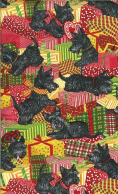 "RARE! CHRISTMAS SCOTTIES WITH PRESENTS - FQ - 18""X22"""