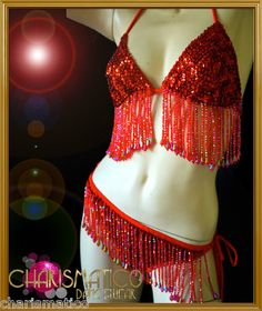 ba49cbeb7f4c Charismatico Red Show Girl Sexy GoGo Sequin Bikini and G String | eBay  Sequin Bikini,