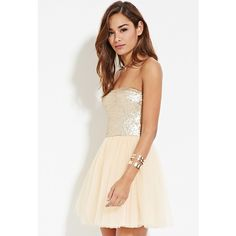Forever 21 Women's  Sequin Tulle Combo Dress (38 CAD) ❤ liked on Polyvore featuring dresses, white mini dress, strapless mini dress, tulle dress, white cocktail dresses and sequin mini dress