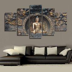 5 Piece Buddha statue Canvas