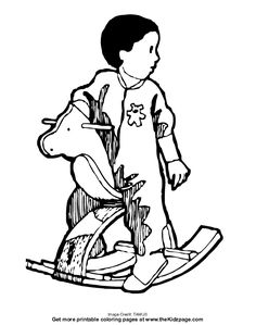 Child on a Rocking Horse - Free Coloring Pages for Kids ...