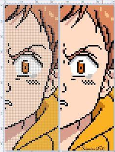 "King ""Harlequin"" from SevenDeadlySins Minecraft Kunst, Minecraft Pixel Art, Easy Pixel Art, Pixel Art Grid, Anime Pixel Art, Art Anime, Kawaii Cross Stitch, Modele Pixel Art, Perler Bead Art"