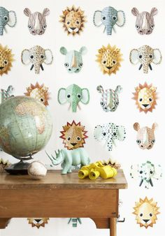 Studio Ditte Wild Animals Wallpaper in Australia. Crisp images of elephants, lions, rinos & other colourful Wild Animals Material Non woven wallpaper, water cleanable Dimensions 2 drops of 3 m long x cm wide The pattern repeats after 3 m