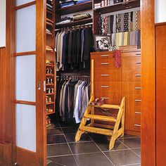 Double the Hanging Space Small Coat Closet, Narrow Closet, Small Closets, Walking Closet, Walk In Closet Design, Closet Designs, Bathroom Linen Closet, Closet Organizer With Drawers, Tie Storage