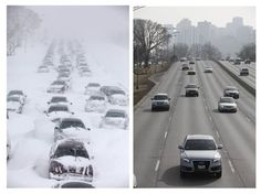 Chicago weather: Hundreds of cars are stranded on Lake Shore Drive on Feb. 2, 2011, in Chicago, left, while traffic moves along smoothly on the same stretch of Lake Shore Drive on Wednesday, Feb. 1, 2012, right.