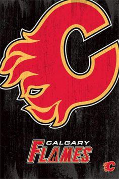 Calgary Flames Logo Poster - 56 x 86 cm Nhl Hockey Teams, Hockey Logos, Nhl Logos, Sports Team Logos, Sports Teams, Ice Hockey, Nhl Wallpaper, Color Wallpaper Iphone, Colorful Wallpaper