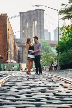 DUMBO brooklyn bridge train tracks engagement photos