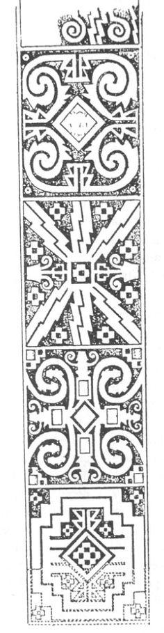 Estela Hatun Kolla - Dibujo esquemático; Schematic drawing of Hatun Kolla stele