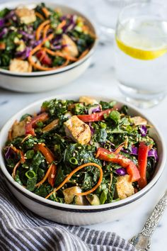 Kale Salad with Fried Tofu and Miso Ginger Dressing - an easy vegan salad with asian flavors   healthynibblesandbits.com