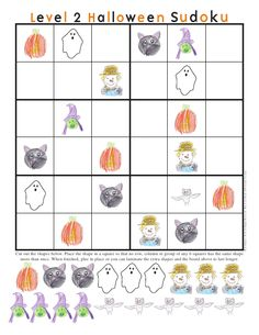 Halloween Sudoku Level 2 - have a spooktacular time figuring out where all the extra pieces go Halloween Class Party, Fun Halloween Crafts, Holiday Crafts For Kids, Holiday Themes, Halloween Activities, Halloween Puzzles, Halloween Templates, Halloween Bats, Holidays Halloween