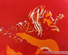 #art #arte #kunst #illustratie #illustration #lino #linocut #linoleum #linoleumsnede #woodcut #houtsnede #muziek #music #kurtcobain #Kurt Cobain #nirvana #gitaar #guitar #rock #rock´nroll #smoke #rook #sigarette