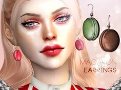 The Sims Resource - Macaron Earrings by Praline Sims for The Sims 4