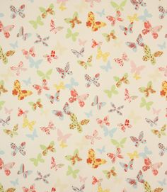 Butterflies are scattered all over this colourful fabric. Made from 100% cotton. A great curtain fabric, also useful for blinds and cushions. Buy online or visit one of our fabric shops in Burford, near Oxford or Cheltenham, Gloucestershire. Why not take advantage of our made to measure service and have your curtains and blinds made and handfinished in our Cotswold workroom.