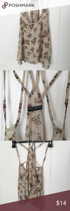 Brandy Melville Floral Cream Top Cute Brandy Melville cream Floral top with double strap. Crop top style.  One size. Brandy Melville Tops Crop Tops