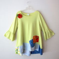 Romantic Lemon Yellow Ruffle Top with Patchwork Detail by DIXIETEXTILES $65.00 Upcycle, Refashion, Repurpose Green Couture