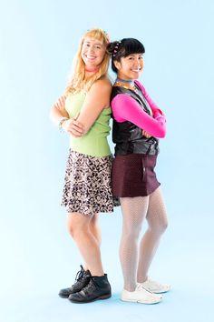 Save this Disney Channel Show-themed Lizzie McGuire + Miranda Sanchez DIY Halloween costume idea.