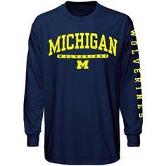 Michigan Wolverines Navy Blue Mascot Bar Long Sleeve T-shirt - XL