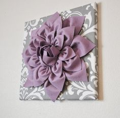 "Wall Flower -Lilac Purple Dahlia on Gray and White Damask 12 x12"" Canvas Wall Art- Baby Nursery Wall Decor-"