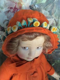 Lenci 500 series in orange from antiquedolls6395 on Ruby Lane