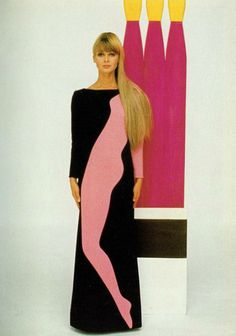 Model in 'pop art' dress, Yves Saint Laurent Fall/Winter collection 1966-67, photo by Jean-Claude Sauer.