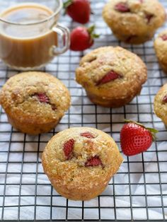 These Strawberry Vanilla Greek Yogurt Muffins are a tasty, healthier take on a sometimes not-so-good for you breakfast.