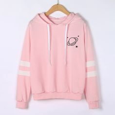 Chamsgend Hoodies Women Sweatshirt Casual Planet Print Striped Long Sleeve Hoody Shirt Blouse Jumper Tops For Female 80109 - Pullover Grunge Look, 90s Grunge, Sweat Style, Mode Kawaii, Shirt Bluse, Sweatshirt Outfit, Running Shirts, Kawaii Clothes, Printed Sweatshirts