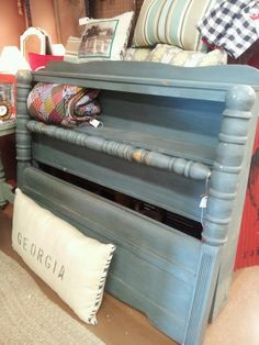 Vintage cannonball bed with shelf at headboard. Comes with rails. Full size. Available at The Queen of Hearts, Marietta, Ga