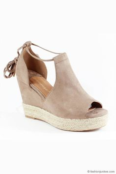 Faux Suede Lace Up Espadrille Wedge Sandals-Taupe