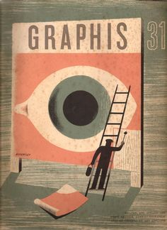 The cover of Graphis 51 by Tom Eckersley, from 1950. See some scans from the rest of the book hereat the great vintage poster blog Quad Royal. If you want to see more work by Tom Eckersley, I recently came across an archive of his work during my dissertation research. You can see 185 pieces by him here. He is a real classic poster artist, from a golden age of British design.
