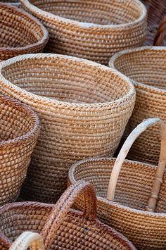 Cesto de bamb natural cestas muebles y cestos de mimbre en - Cestos decorativos ...