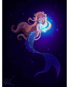 A little mermaid with a glowy fish! Siren Mermaid, Mermaid Cove, Mermaid Lagoon, Cute Mermaid, Mermaid Art, The Little Mermaid, Mermaid Tails, Real Mermaids, Mermaids And Mermen