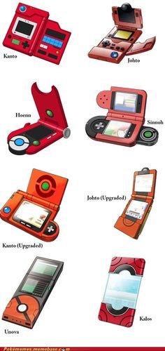 POKEMON - pokédex of each generation.they just look like Nintendo hand held consoles for each year. Gijinka Pokemon, Pokemon Pins, Pokemon Memes, Pokemon Go, Pokemon Pokedex List, Pokemon Kalos, Pokemon Stuff, Pikachu, Pokemon Fusion