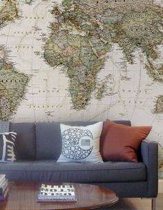 Old Style Map Wall Mural wallpaper in the living room. The neutrality of the couch and pillow colors shows off the map. Wall Maps, Wall Mural, World Map Wallpaper, Old World Maps, Wall Decor, Room Decor, Office Walls, My Living Room, Interior And Exterior