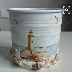 ,,, - cute pail or other container idea with sea shells, etc. Seashell Art, Seashell Crafts, Beach Crafts, Diy And Crafts, Arts And Crafts, Coastal Decor, Flower Pots, Sea Shells, Craft Projects