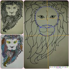 Blue Sparrows Art Club Blog: Zentangle Lions
