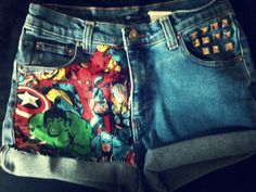 be a fashion hero with these one of a kind high waist avenger shorts studded pocket cuffed/rolled bottom raw edges size US Rise 7 inches flat Hips 18 inches flat enjoy! Painted Shorts, Painted Clothes, High Waisted Shorts, Jean Shorts, Avengers, Style Me, Stylish, Womens Fashion, Pants