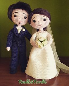 "Needle & Noodle - Amigurumi på Instagram: ""Serena&Fabio❤️❤️ #needleandnoodle #amigurumi #crochet #wedding #handmade #hechoamano #lemaddine #love #cute"""