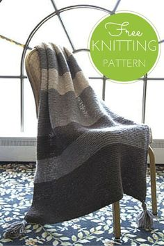 Striped Garter Throw Free Knitting Pattern Perfect for knitters of all skill levels, this easy to knit afghan is knitted entirely in garter stitch. The beauty is in the simple stripes. Perfect for TV knitting!what three colors will you choose? Easy Knitting Patterns, Loom Knitting, Free Knitting, Knitting Projects, Start Knitting, Knitting Ideas, Knitting Blanket Patterns, Knitted Throw Patterns, Crochet Patterns